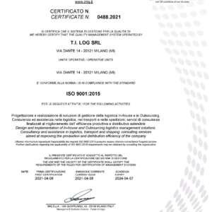 Tilog ottiene la certificazione ISO 9001:2015